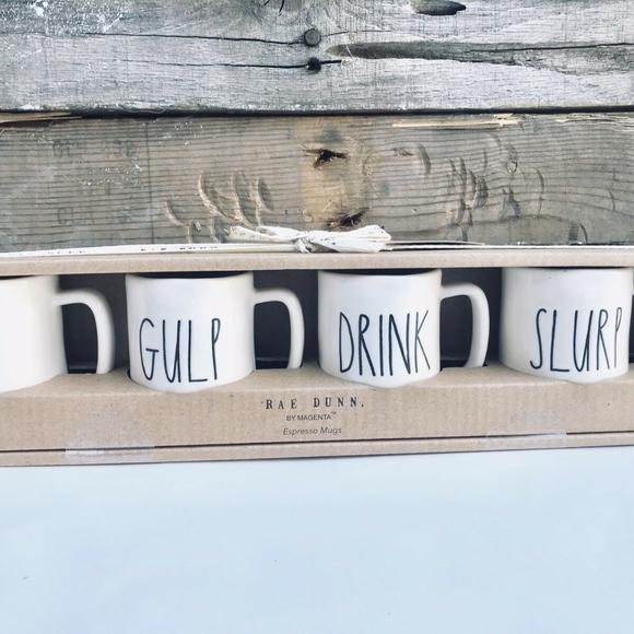 Rae Dunn Magenta Set of 4 Espresso Mugs ESPRESSO ESPRESSO CAFE CAFE